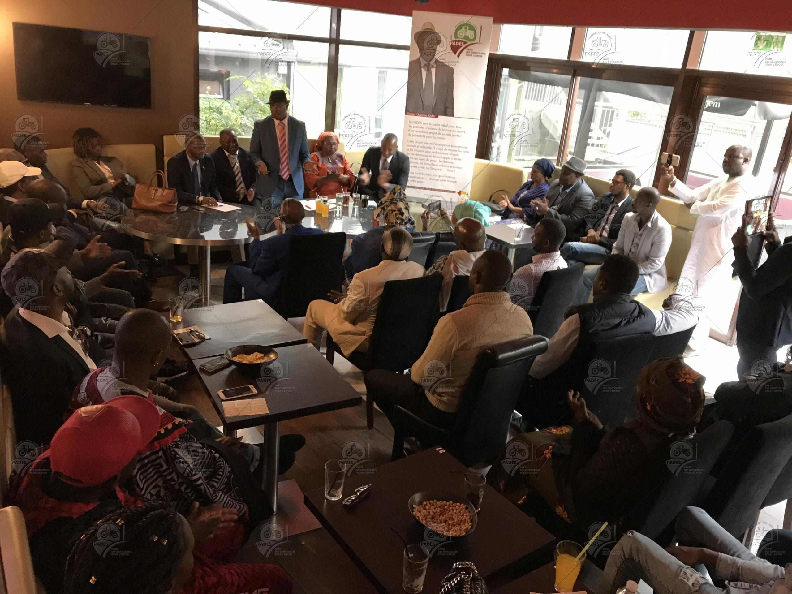 Meeting PADES France en présence du Dr Ousmane KABA, le 19 septembre 2018